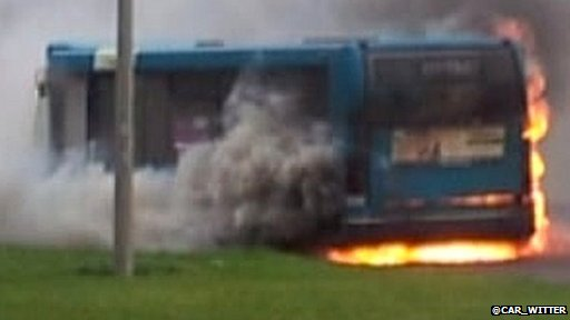 Nine people fled the bus unhurt after it caught fire at Medbourne roundabout