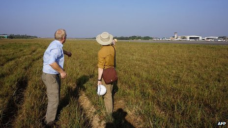 The site at Rangoon airport is one of three that David Cundall (left) believes holds buried Spitfire planes